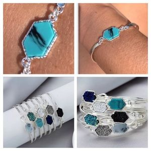 Jewelry - Silver Bracelet Natural Stone Crystal Blue